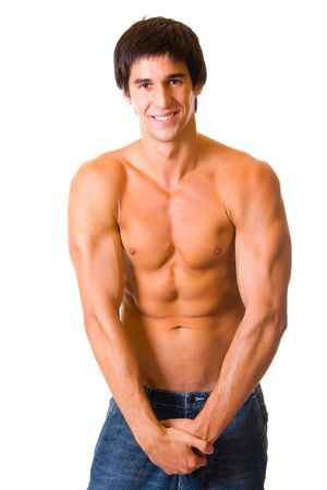 Portrait of handsome muscular young man, isolated on white photo