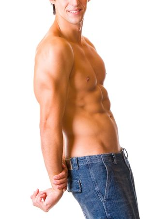 Naked torso of handsome muscular young man, isolated on white photo