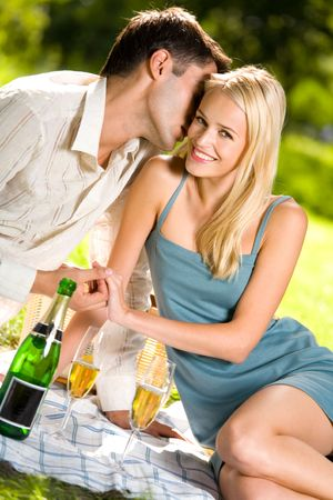 Young couple celebrating with champagne together, at picnic photo