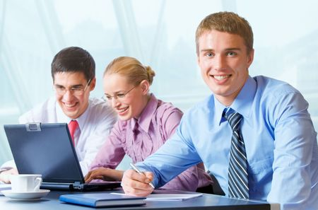 businesslady: Happy successful business team working at office Stock Photo