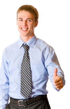 affirmative: Young happy successful businessman or student with affirmative gesture, isolated
