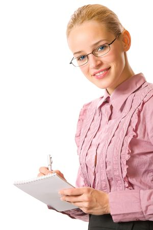 Young businesswoman, teacher or student with pen and notepad, isolated photo