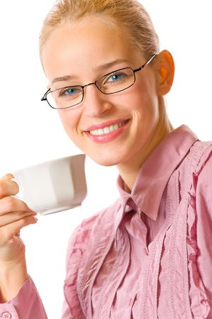 Businesswoman with cup of tea or coffee at office, isolated photo