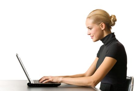 Young businesswoman, secretary or student with laptop, isolated photo