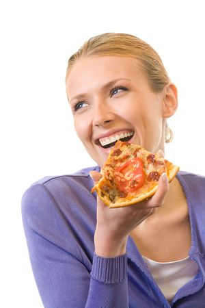 Young happy woman eating pizza, isolated on white photo