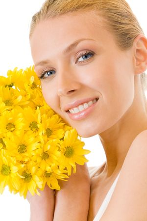 Young happy woman with bouquet of yellow flowers, isolated Stock Photo - 2998183