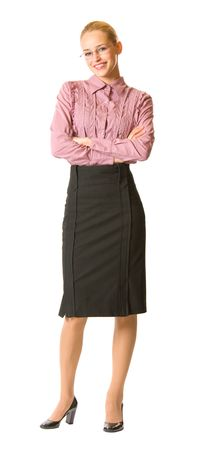 Happy businesswoman isolated on white, full body portrait photo