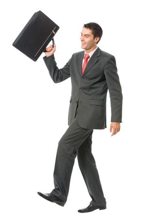 Businessman walking to success with briefcase, isolated on white Stock Photo - 3214215