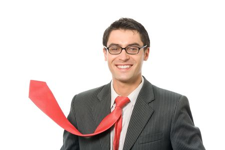 Happy smiling successful businessman with red tie, isolated on white Stock Photo - 3214246