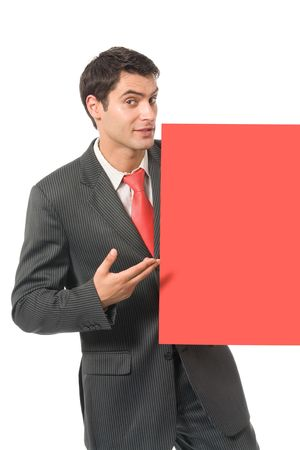 Businessman standing with red signboard, isolated on white Stock Photo - 3214244
