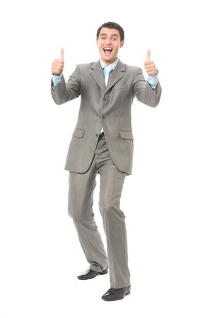Young happy gesturing successful businessman, isolated on white Stock Photo - 3214209