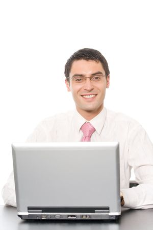 Portrait of happy smiling businessman with laptop, isolated on white Stock Photo - 3214210