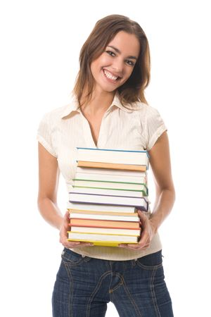Young happy woman with books, isolated on white Stock Photo - 3324865