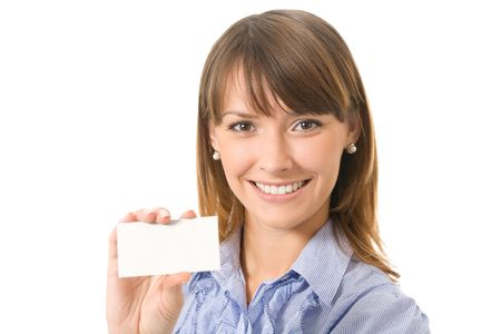 Young happy businesswoman with blank sign or business card, isolated Stock Photo - 3354685