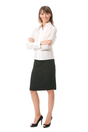 Portrait of young happy smiling businesswoman, isolated on white Stock Photo - 3354679