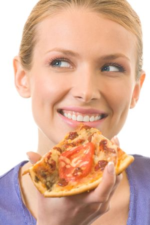 Young happy woman eating pizza, isolated on white Stock Photo - 3413540