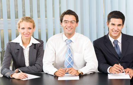 committee: Businessteam, board meeting or selection committee at office