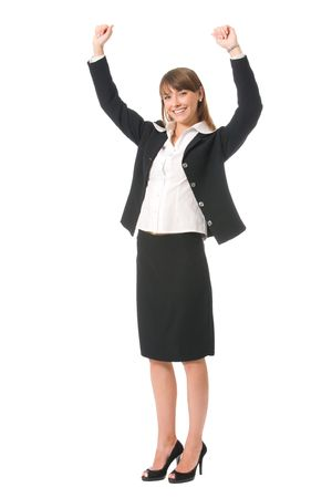 Young very happy smiling businesswoman gesturing, isolated on white photo