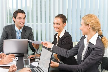Successful business team working together at office Stock Photo - 3599282