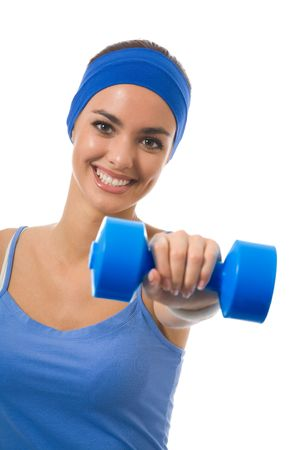 Young happy woman doing fitness exercises, isolated on white Stock Photo - 3632423