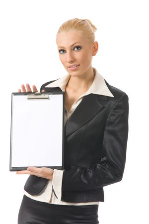 Young businesswoman showing blank clipboard, isolated on white photo