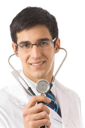 Doctor with stethoscope, isolated on white Stock Photo - 3767047