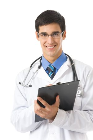 Happy doctor with stethoscope writing on clipboard, isolated photo