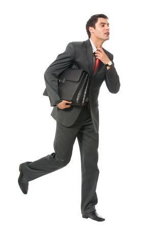 to hasten: Very busy businessman with briefcase running to important meeting, isolated