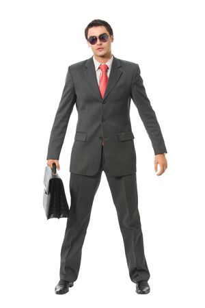 Businessman with briefcase, isolated on white Stock Photo - 3868510