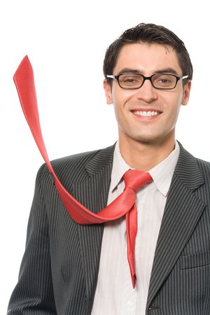 Portrait of happy smiling successful businessman with red tie, isolated photo
