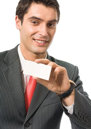 Young happy smiling businessman giving business-card, isolated on white photo