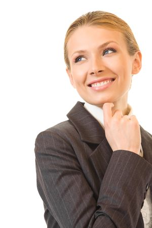 25 30: Young happy smiling businesswoman, isolated on white Stock Photo