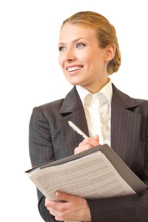 Young businesswoman with pen and documents, isolated on white photo