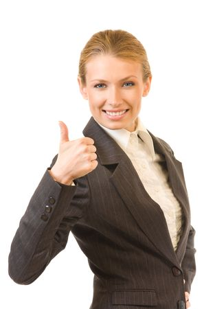 great job: Happy businesswoman with thumb up, isolated on white