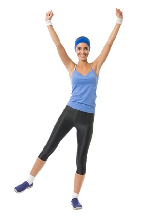 20 25: Young happy woman doing fitness exercise, isolated on white