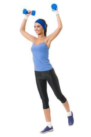 Young happy woman doing fitness exercise, isolated on white photo