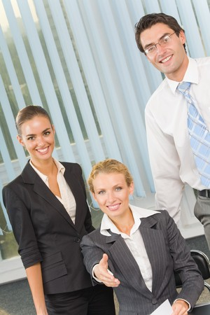 Portrait of cheerful successful business team at office Stock Photo - 4169106