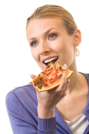 Woman eating pizza, isolated on white Stock Photo - 4252385