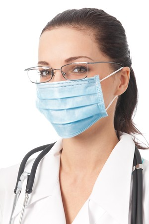protective mask: Portrait of doctor in protective mask, isolated on white Stock Photo