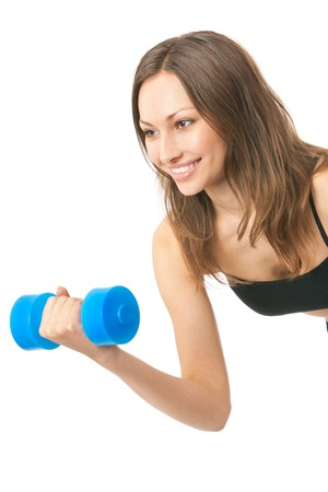 Young happy woman doing fitness exercises, isolated on white Stock Photo - 4444220