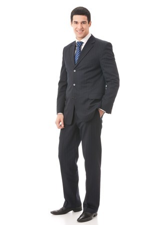 Full body portrait of businessman, isolated on white photo