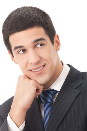 Portrait of thinking businessman, isolated on white photo