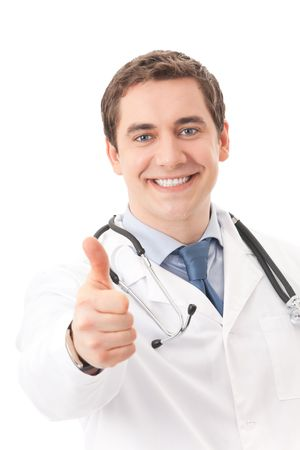 Happy doctor with thumb up, isolated on white Stock Photo - 4583064