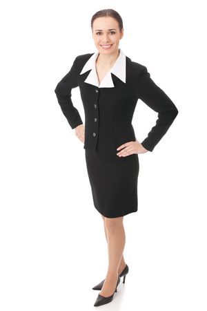 Full body portrait of businesswoman, isolated on white Stock Photo - 4583076