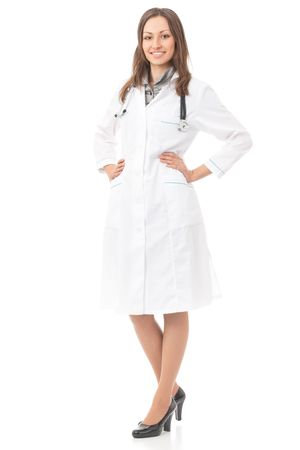 Full body portrait of female doctor or nurse, isolated  photo