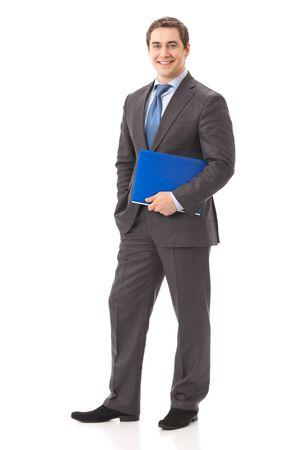 persona de pie: Retrato de cuerpo entero con la carpeta de negocios, aislados en blanco