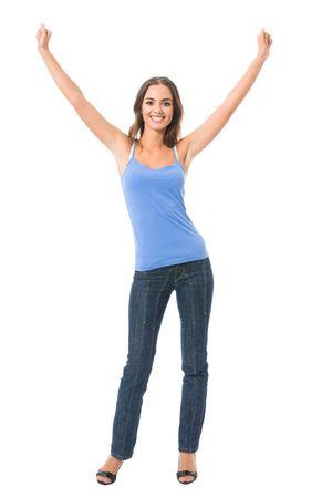 Young very happy gesturing smiling woman, isolated on white photo