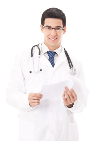 Happy doctor with document, isolated on white photo