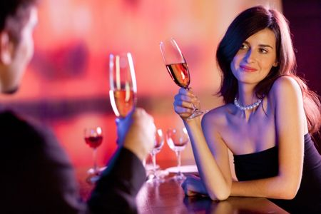 Amorous couple on romantic date or celebrating together at restaurant Stock Photo - 4794063