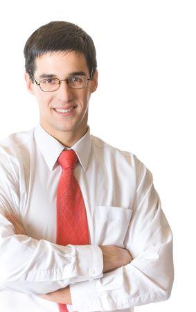 Portrait of happy businessman, isolated on white photo